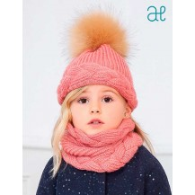Abel & Lula Winter Girl Pink Hat Scarf Gloves