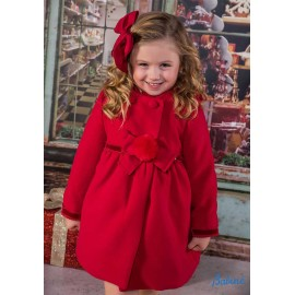 Babine Winter Girl Red Coat with Pompom