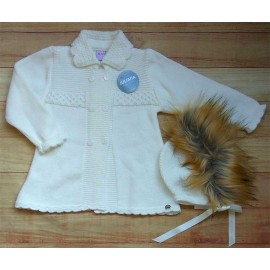 Juliana Winter Baby Girl Coat Beige with Bonnet