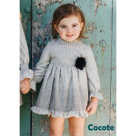 Cocote Winter Baby Girl Gray Dress Black Spots