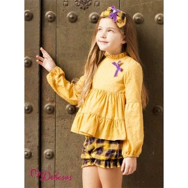 Debesos Winter Girl Set Ocher and Squares