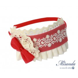 Miranda Winter Girl Red Headband with Lace